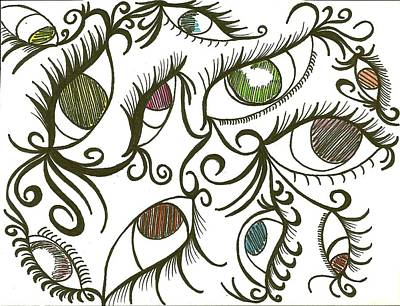 Eyes Galore Art Print by Angie Oviedo