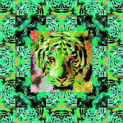 Eyes Of The Bengal Tiger Abstract Window 20130205m180 Art Print