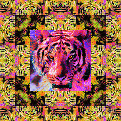 The Tiger Hunt Photograph - Eyes Of The Bengal Tiger Abstract Window 20130205p80 by Wingsdomain Art and Photography
