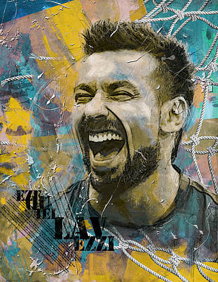 Soccer Painting - Ezequiel Lavezzi by Corporate Art Task Force
