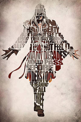 Typographic Digital Art - Ezio Auditore Da Firenze From Assassin's Creed 2  by Inspirowl Design