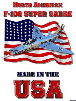 Made In The Usa Digital Art - F-100 Super Sabre Made In The Usa by Mil Merchant