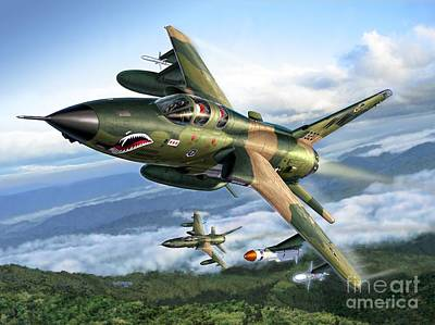 Weasel Digital Art - F-105g Wild Weasels by Stu Shepherd