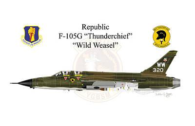 Digital Art - F-105g Wild Weasel Greeting Card by Arthur Eggers