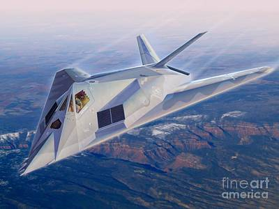 Stealth Digital Art - F-117 The Dragon by Stu Shepherd