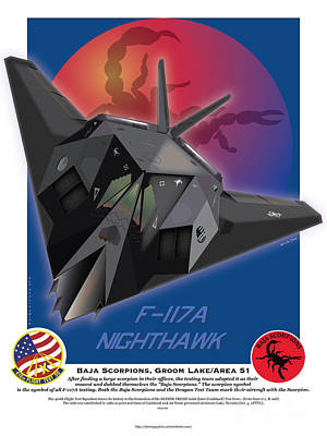 Drawing - F-117 Nighthawk Baja Scorpions by Kenneth De Tore