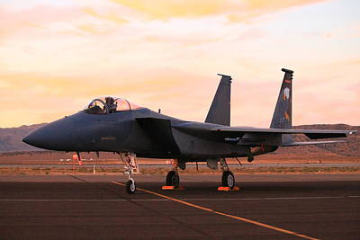 F15 Wall Art - Photograph - F-15 Eagle At Sunset by Saya Studios