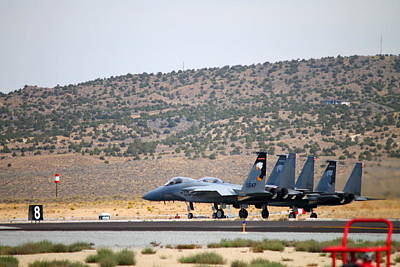 F15 Wall Art - Photograph - F-15 Eagles Lined Up For Takeoff by Saya Studios