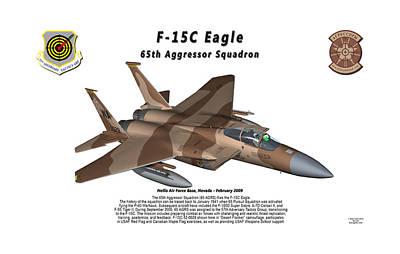 F-15c Eagle Digital Art - F-15c Eagle 65th Agrs In Flight by Bob Tyler