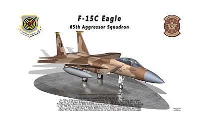 F-15c Eagle Digital Art - F-15c Eagle 65th Agrs On Ramp by Bob Tyler