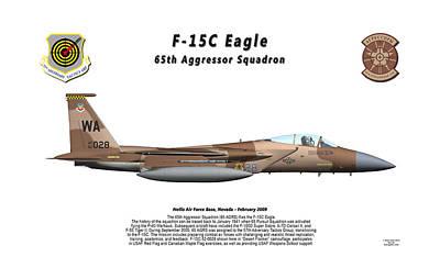 F-15c Eagle Digital Art - F-15c Eagle 65th Agrs Profile by Bob Tyler