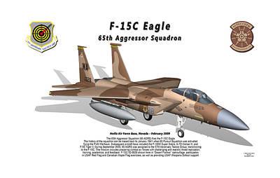 F-15c Eagle Digital Art - F-15c Eagle 65th Agrs With Shadow by Bob Tyler