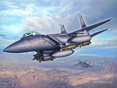 F-15e Desert Eagles Art Print by Stu Shepherd