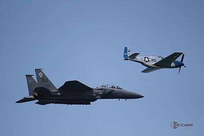 F-15e Strike Eagle And P51d Mustang Art Print