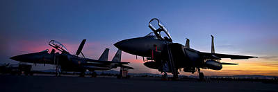 Airshow Flight Photograph - F-15e Strike Eagles At Dusk by Adam Romanowicz