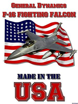 Made In The Usa Digital Art - F-16 Fighting Falcon Made In The Usa  by Mil Merchant