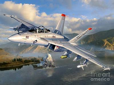 U.s. Navy Digital Art - F-18f Stopping Maritime Terror by Stu Shepherd