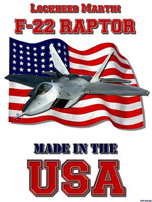 Made In The Usa Digital Art - F-22 Raptor Made In The Usa by Mil Merchant