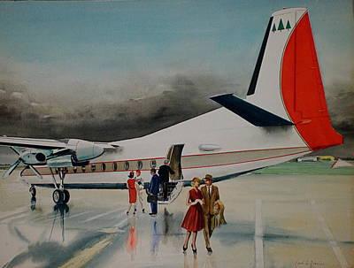 F-27 At Columbus Ohio Art Print by Frank Hunter