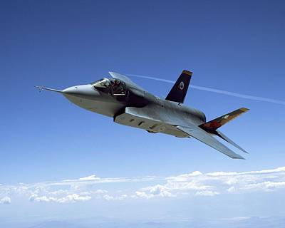 Carrier Mixed Media - F 35 Joint Strike Fighter Amber Indigo Red Fins Enhanced by US Military - L Brown
