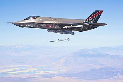 Lockheed Martin F-35 Launching Missile Enhanced Art Print by US Military - L Brown