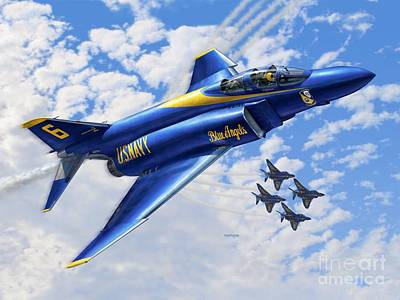 Fighters Digital Art - F-4 Phantoms In Blue by Stu Shepherd