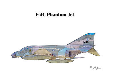 Digital Art - F-4c Phantom Jet by Barry Jones