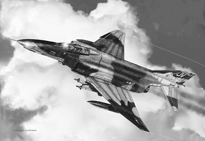 Vietnam War Drawing - F-4e Phantom II by Douglas Castleman