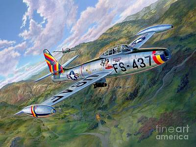 Korean Painting - F-84 Thunderjet Over Korea by Stu Shepherd