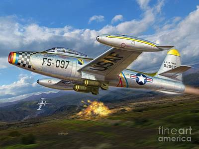 Field Digital Art - F-84e Thunderstrike by Stu Shepherd