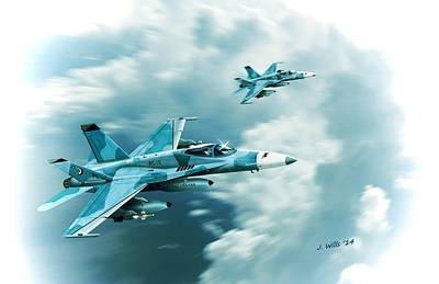 Digital Art - F A 18c Hornet Fighting Omars Vfc12 by John Wills