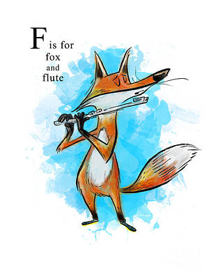 Flute Wall Art - Painting - F Is For Fox by Sean Hagan