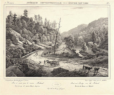 F. Jacques Milbert French. Road And Bridge Over The Mohawk Art Print