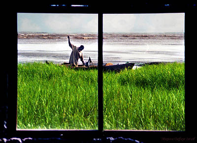 Fisherman Window Framed Art Print