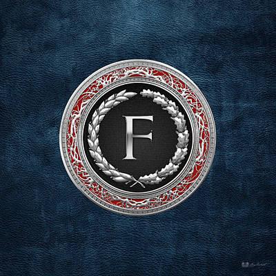 Digital Art - F - Silver Vintage Monogram On Blue Leather by Serge Averbukh