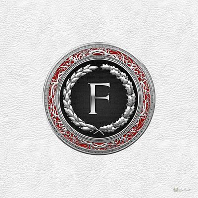 Digital Art - F - Silver Vintage Monogram On White Leather by Serge Averbukh