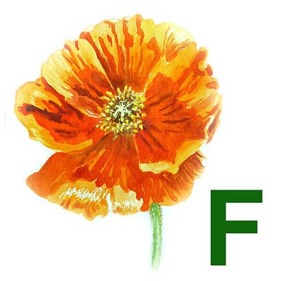 Alphabet Flash Cards Painting - F Stands For Flower Art Alphabet For Kids Room by Irina Sztukowski