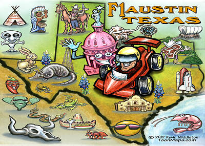 Map Painting - F1 Austin Texas by Kevin Middleton