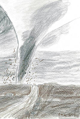 Tears Drawing - F3 Torrnado Tearing Across The Plains by Fred Hanna