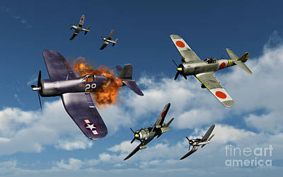 Destruction Digital Art - F4u Corsair Aircraft And Japanese by Mark Stevenson