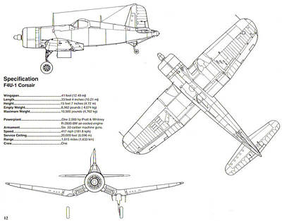 Photograph - F4u Corsair Schematic Diagram by John King