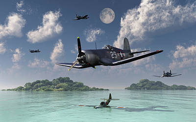 F4u Corsairs Flying Over A Shot Art Print by Mark Stevenson