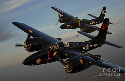 Transportation Royalty-Free and Rights-Managed Images - F7f Tigercats In Formation Flight by Phil Wallick