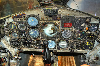 Photograph - F9f Cougar Fighter Plane Cockpit by Kathy Baccari