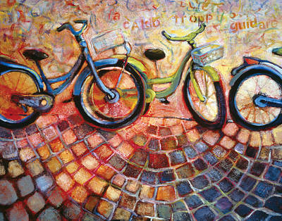 Cobblestone Painting - Fa Caldo Troppo Guidare by Jen Norton