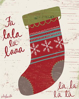 Winter Holiday Painting - Fa La La La La by Katie Doucette