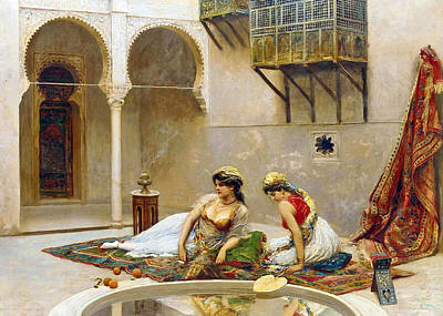 Painting - Fabio Fabbi Harem Relaxing by Munir Alawi