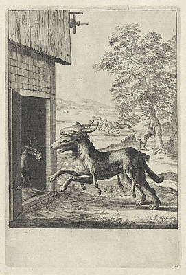 Shed Drawing - Fable Of The Goat And The Wolf, Dirk Stoop by Dirk Stoop And John Ogilby