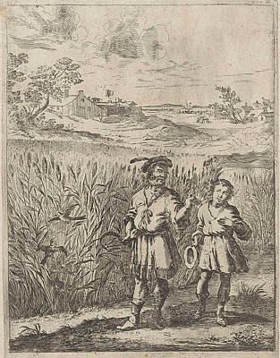Cornfield Drawing - Fable Of The Lark And Her Boy, Print Maker Dirk Stoop by Dirk Stoop And John Ogilby