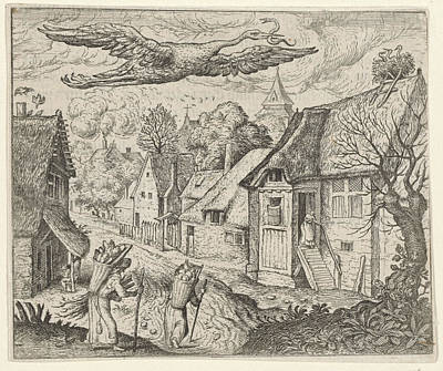 Stork Drawing - Fable Of The Old Stork, Aegidius Sadeler by Quint Lox